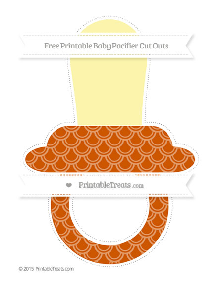 Free Burnt Orange Fish Scale Pattern Extra Large Baby Pacifier Cut Outs