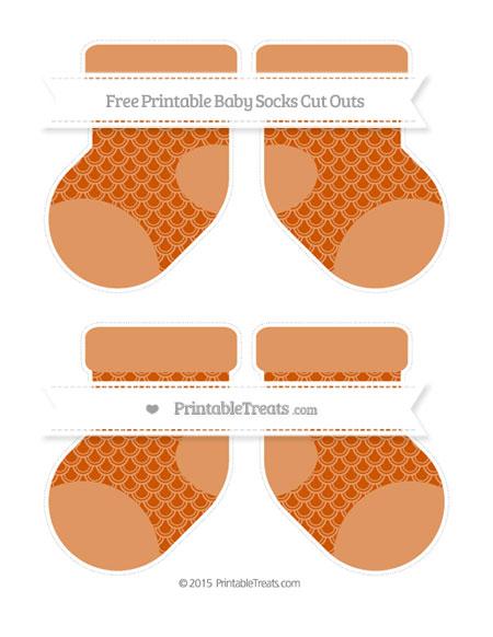 Free Burnt Orange Fish Scale Pattern Medium Baby Socks Cut Outs