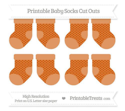 Free Burnt Orange Fish Scale Pattern Small Baby Socks Cut Outs