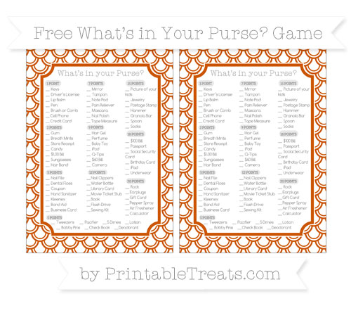 Free Burnt Orange Fish Scale Pattern What's in Your Purse Baby Shower Game