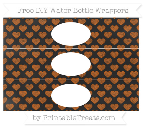 Free Burnt Orange Heart Pattern Chalk Style DIY Water Bottle Wrappers