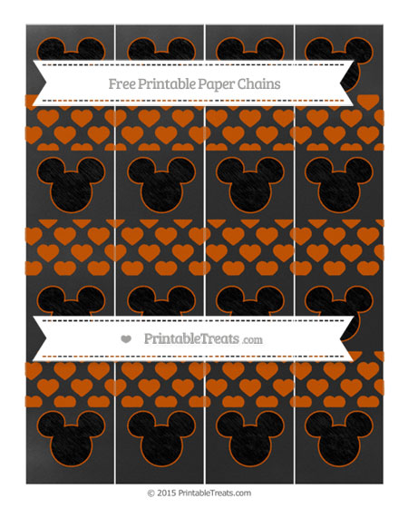 Free Burnt Orange Heart Pattern Chalk Style Mickey Mouse Paper Chains