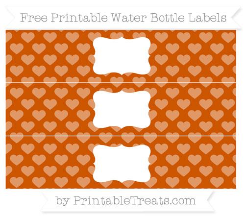 Free Burnt Orange Heart Pattern Water Bottle Labels