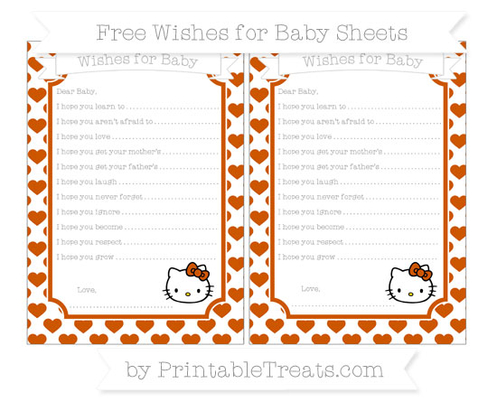 Free Burnt Orange Heart Pattern Hello Kitty Wishes for Baby Sheets