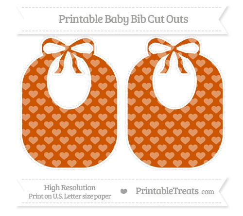 Free Burnt Orange Heart Pattern Large Baby Bib Cut Outs