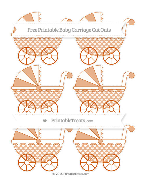 Free Burnt Orange Heart Pattern Small Baby Carriage Cut Outs