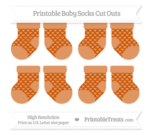 Free Burnt Orange Heart Pattern Small Baby Socks Cut Outs