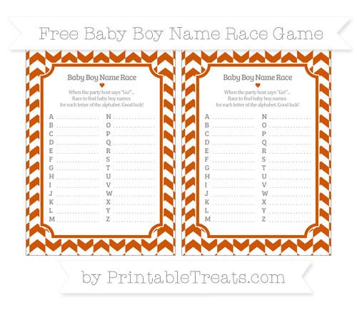 Free Burnt Orange Herringbone Pattern Baby Boy Name Race Game