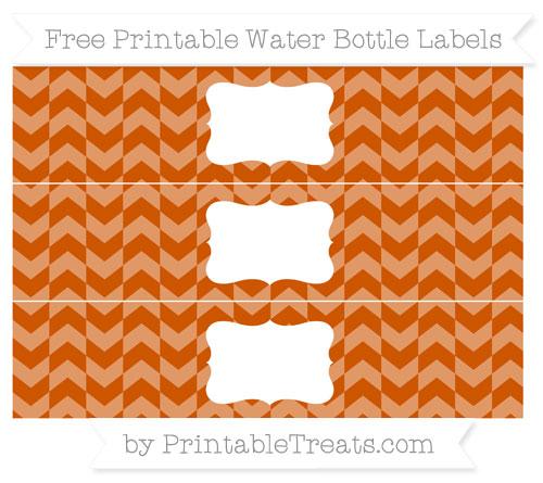Free Burnt Orange Herringbone Pattern Water Bottle Labels