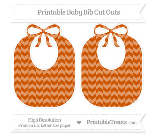 Free Burnt Orange Herringbone Pattern Large Baby Bib Cut Outs