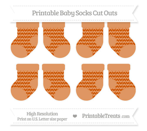 Free Burnt Orange Herringbone Pattern Small Baby Socks Cut Outs