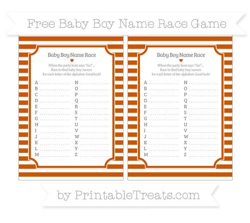 Free Burnt Orange Horizontal Striped Baby Boy Name Race Game