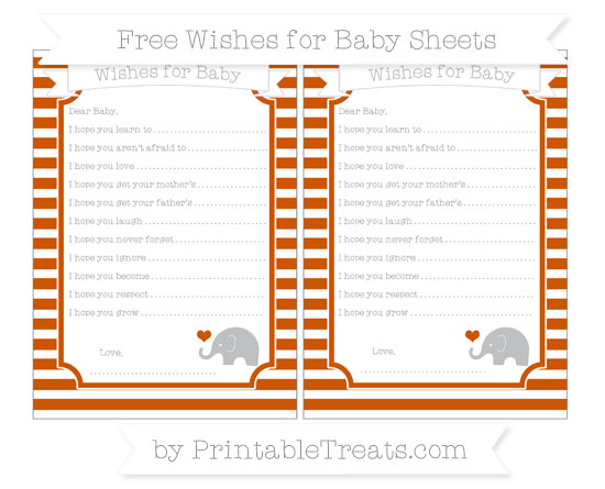 Free Burnt Orange Horizontal Striped Baby Elephant Wishes for Baby Sheets