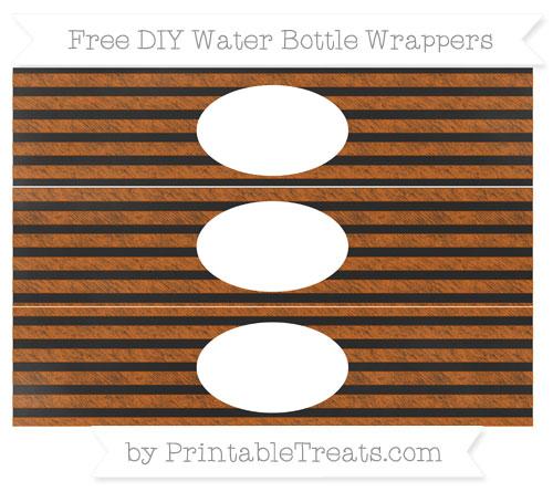 Free Burnt Orange Horizontal Striped Chalk Style DIY Water Bottle Wrappers