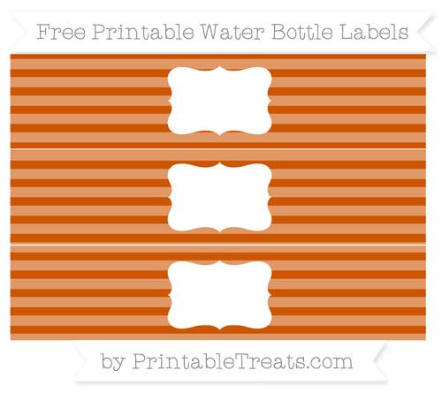 Free Burnt Orange Horizontal Striped Water Bottle Labels