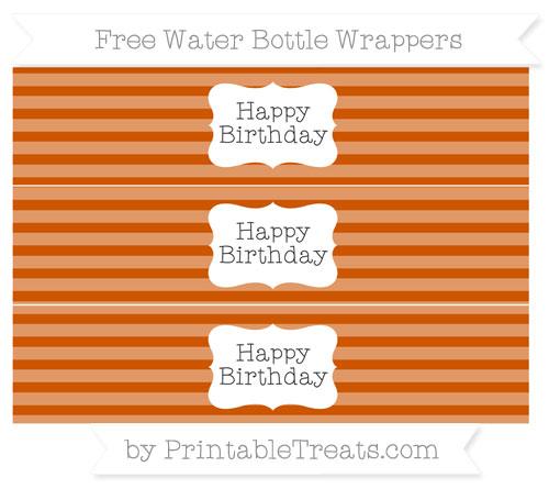 Free Burnt Orange Horizontal Striped Happy Birhtday Water Bottle Wrappers