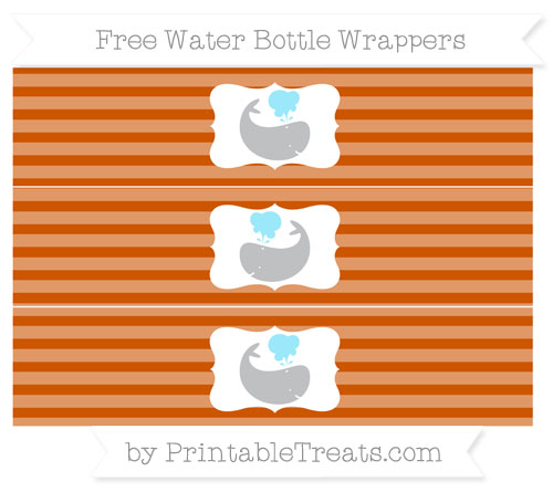 Free Burnt Orange Horizontal Striped Whale Water Bottle Wrappers
