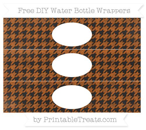 Free Burnt Orange Houndstooth Pattern Chalk Style DIY Water Bottle Wrappers
