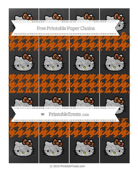 Free Burnt Orange Houndstooth Pattern Chalk Style Hello Kitty Paper Chains