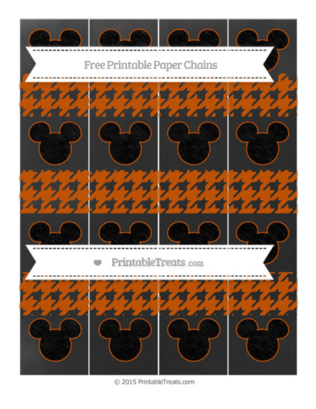 Free Burnt Orange Houndstooth Pattern Chalk Style Mickey Mouse Paper Chains