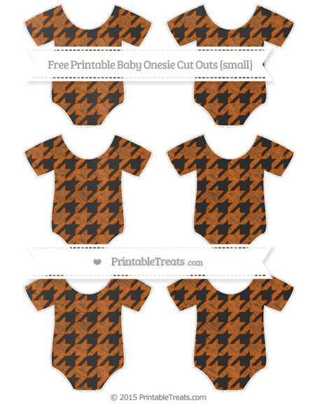Free Burnt Orange Houndstooth Pattern Chalk Style Small Baby Onesie Cut Outs
