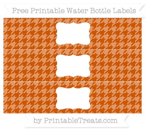 Free Burnt Orange Houndstooth Pattern Water Bottle Labels
