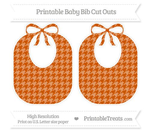 Free Burnt Orange Houndstooth Pattern Large Baby Bib Cut Outs