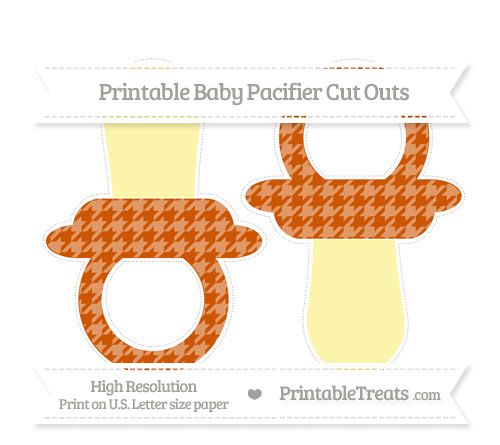 Free Burnt Orange Houndstooth Pattern Large Baby Pacifier Cut Outs