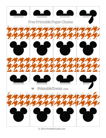 Free Burnt Orange Houndstooth Pattern Mickey Mouse Paper Chains