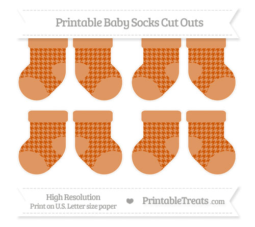Free Burnt Orange Houndstooth Pattern Small Baby Socks Cut Outs