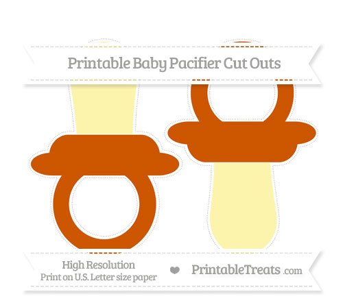 Free Burnt Orange Large Baby Pacifier Cut Outs