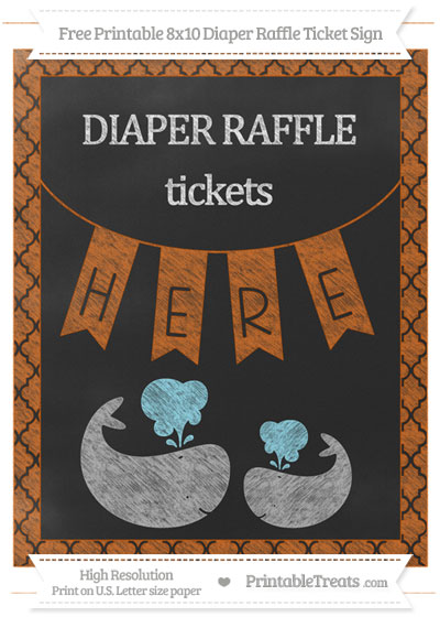 Free Burnt Orange Moroccan Tile Chalk Style Baby Whale 8x10 Diaper Raffle Ticket Sign