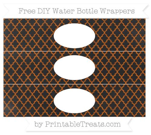 Free Burnt Orange Moroccan Tile Chalk Style DIY Water Bottle Wrappers