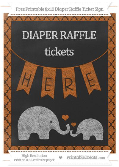 Free Burnt Orange Moroccan Tile Chalk Style Elephant 8x10 Diaper Raffle Ticket Sign