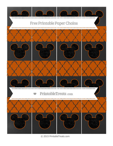 Free Burnt Orange Moroccan Tile Chalk Style Mickey Mouse Paper Chains