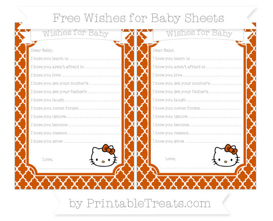 Free Burnt Orange Moroccan Tile Hello Kitty Wishes for Baby Sheets
