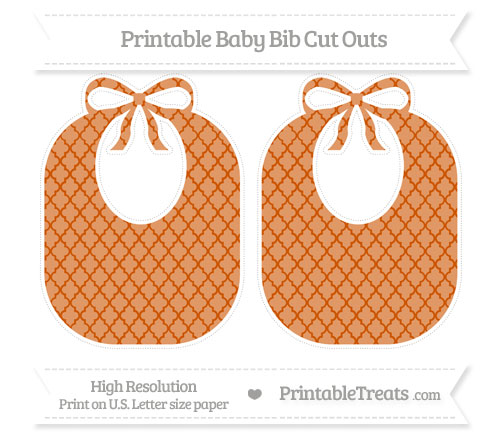 Free Burnt Orange Moroccan Tile Large Baby Bib Cut Outs