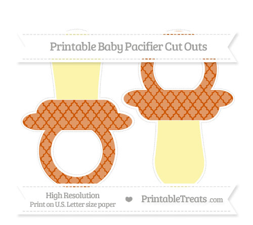 Free Burnt Orange Moroccan Tile Large Baby Pacifier Cut Outs