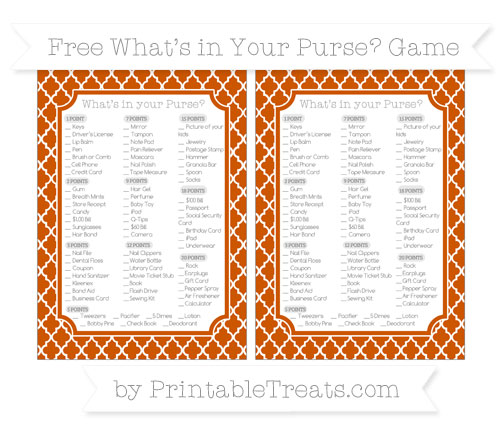 Free Burnt Orange Moroccan Tile What's in Your Purse Baby Shower Game