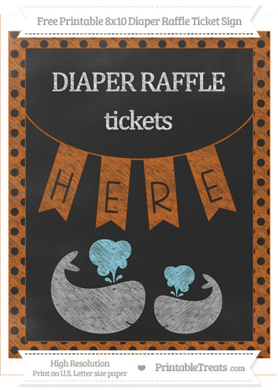 Free Burnt Orange Polka Dot Chalk Style Baby Whale 8x10 Diaper Raffle Ticket Sign