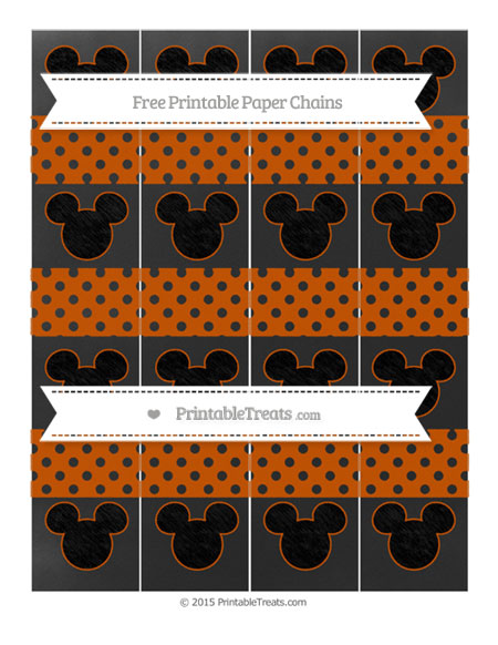 Free Burnt Orange Polka Dot Chalk Style Mickey Mouse Paper Chains