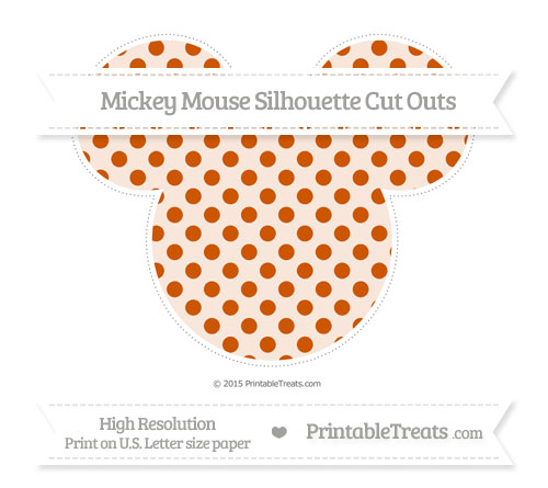 Free Burnt Orange Polka Dot Extra Large Mickey Mouse Silhouette Cut Outs