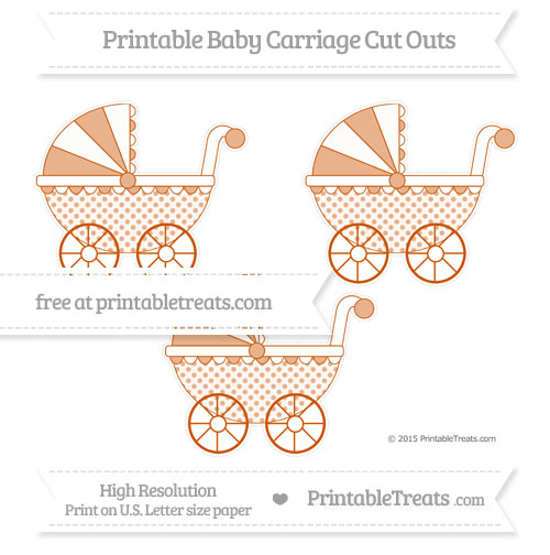 Free Burnt Orange Polka Dot Medium Baby Carriage Cut Outs