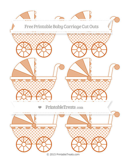 Free Burnt Orange Polka Dot Small Baby Carriage Cut Outs