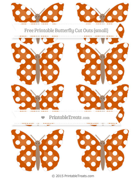 Free Burnt Orange Polka Dot Small Butterfly Cut Outs