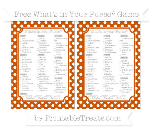 Free Burnt Orange Polka Dot What's in Your Purse Baby Shower Game