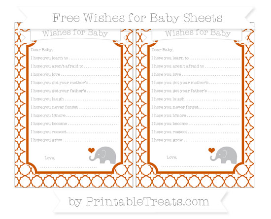 Free Burnt Orange Quatrefoil Pattern Baby Elephant Wishes for Baby Sheets