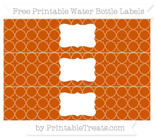Free Burnt Orange Quatrefoil Pattern Water Bottle Labels