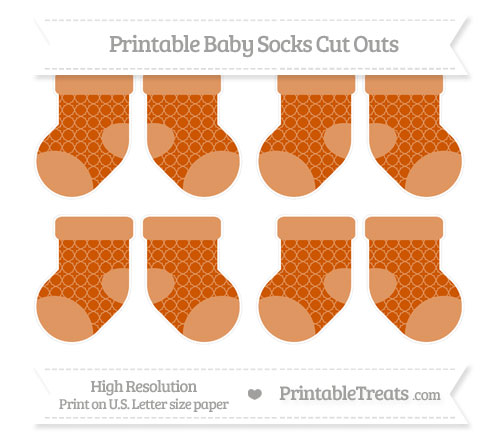 Free Burnt Orange Quatrefoil Pattern Small Baby Socks Cut Outs