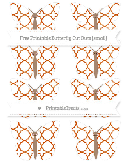 Free Burnt Orange Quatrefoil Pattern Small Smiley Butterfly Cut Outs